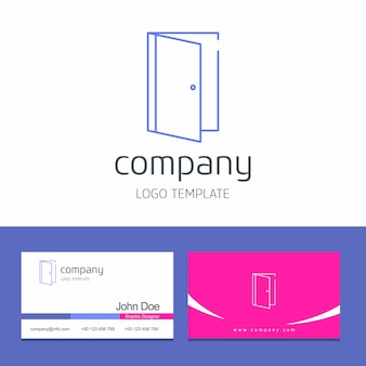 Progettazione del biglietto da visita con il vettore di logo della società della porta