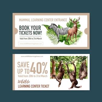 Progettazione del biglietto dello zoo con la zebra, illustrazione dell'acquerello della scimmia.