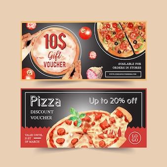 Progettazione del buono della pizza con la salsiccia, formaggio, illustrazione dell'acqua del basilico