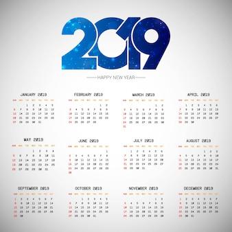 Progettazione del calendario 2019 con il vettore leggero del fondo