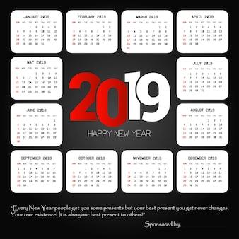 Progettazione del calendario 2019 con il vettore nero del fondo