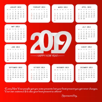 Progettazione del calendario 2019 con il vettore rosso del fondo