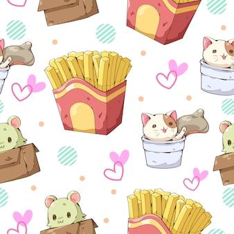 Progettazione del carattere del fumetto delle patate fritte, della tazza del gatto e del modello senza cuciture della scatola del gatto
