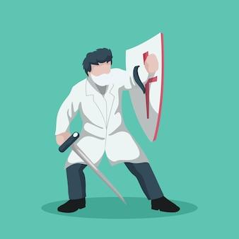 Progettazione del cartone del medico guerriero che combatte il coronavirus