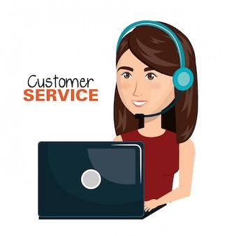 Progettazione del centro di chiamata di servizio di cliente della donna del computer portatile