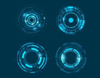 Progettazione del cerchio di tecnologia dell'insieme dell'icona di vettore.