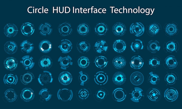 Progettazione del cerchio di tecnologia dell'insieme dell'icona di vettore