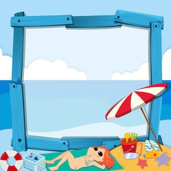 Progettazione del confine con la ragazza sulla spiaggia