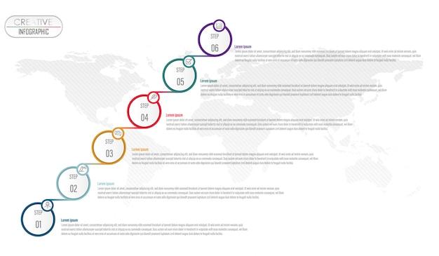 Progettazione del diagramma infografica con processo step