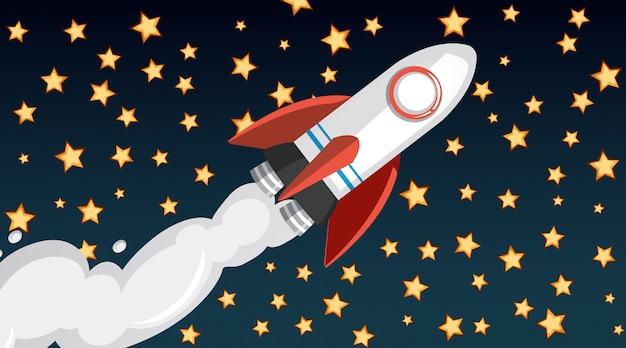 Progettazione del fondo con l'astronave che vola nel cielo