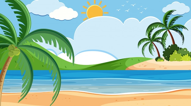 Progettazione del fondo del paesaggio della spiaggia il giorno soleggiato