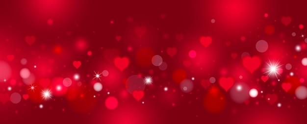 Progettazione del fondo di san valentino dei cuori e del bokeh rossi
