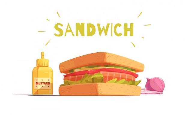 Progettazione del fumetto del panino con l'insalata di pomodori del salmone dei pani tostati cipolla e senape affettate