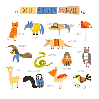 Progettazione del fumetto di vettore degli animali sudamericani
