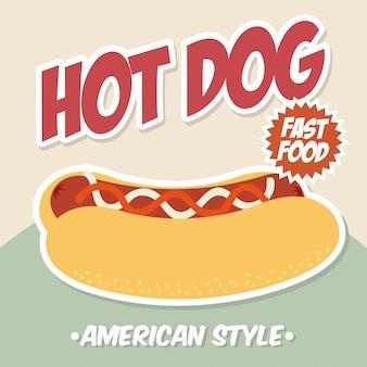 Progettazione del hot dog sopra l'illustrazione rosa di vettore del fondo