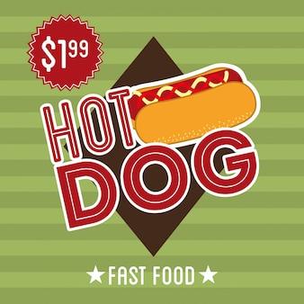 Progettazione del hot dog sopra l'illustrazione verde di vettore del fondo