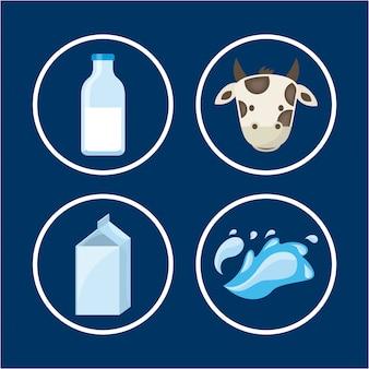 Progettazione del latte sopra l'illustrazione blu di vettore del fondo