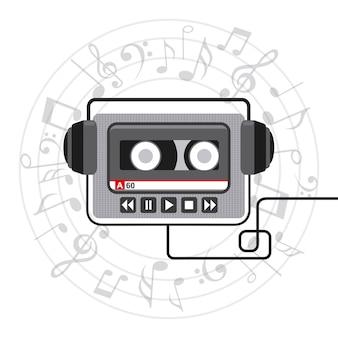 Progettazione del lettore musicale, grafico dell'illustrazione eps10 di vettore