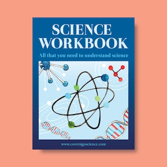 Progettazione del libro di copertina di scienza con la molecola, illustrazione dell'acquerello del dna.