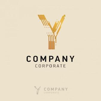 Progettazione del logo aziendale y con biglietto da visita vettoriale