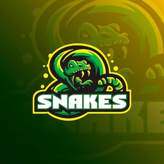 Progettazione del logo della mascotte del serpente con stile moderno di concetto dell'illustrazione per stampa del distintivo, dell'emblema e della maglietta.