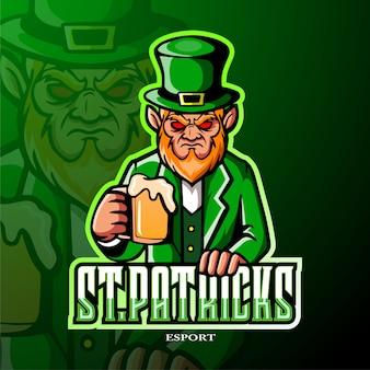 Progettazione del logo esport mascotte leprechaun giorno di san patrizio.