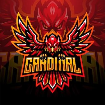 Progettazione del logo mascotte cardinale esport