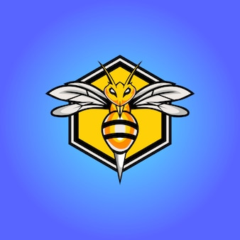 Progettazione del logo mascotte esportatore di ape arrabbiato