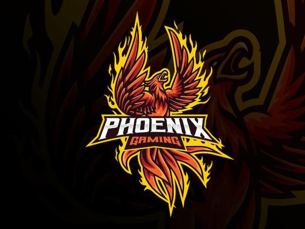 Progettazione del logo sport phoenix mascotte