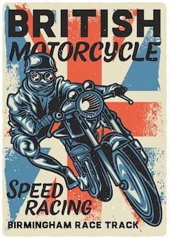 Progettazione del manifesto con l'illustrazione del motociclista sulla motocicletta