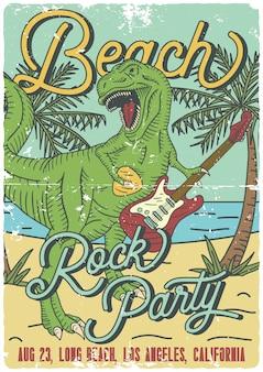 Progettazione del manifesto con l'illustrazione del tirannosauro che gioca sulla chitarra elettrica