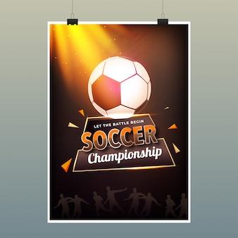 Progettazione del manifesto del campionato di calcio con l'illustrazione di pallone da calcio