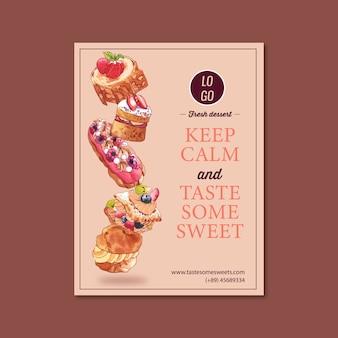 Progettazione del manifesto del dessert con l'illustrazione dell'acquerello della crostata alle fragole della crema, della meringa, della fragola.