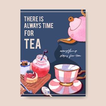Progettazione del manifesto del dessert con l'ora del tè, marmellata, cioccolato, caffè, illustrazione dell'acquerello della cheesecake.