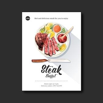Progettazione del manifesto della bistecca con bistecca, illustrazione dell'acquerello della salsa.