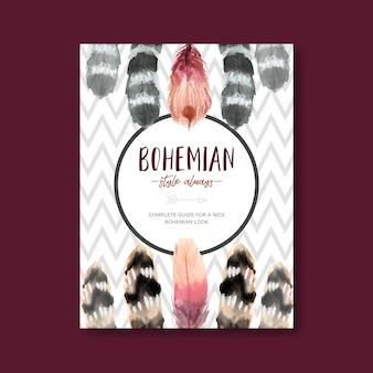 Progettazione del manifesto della boemia con la varia illustrazione dell'acquerello della piuma.