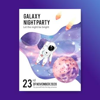 Progettazione del manifesto della galassia con l'astronauta, pianeta, illustrazione dell'acquerello dell'asteroide.