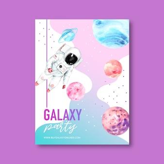 Progettazione del manifesto della galassia con l'illustrazione dell'acquerello dell'astronauta e del pianeta.