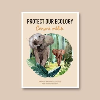 Progettazione del manifesto dello zoo con l'elefante, illustrazione dell'acquerello della foresta.