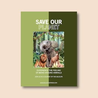 Progettazione del manifesto dello zoo con l'illustrazione dell'acquerello del leone, del coniglio, dei cervi, dell'elefante.
