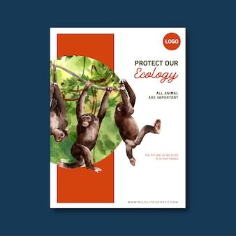 Progettazione del manifesto dello zoo con la scimmia, illustrazione dell'acquerello della foresta.