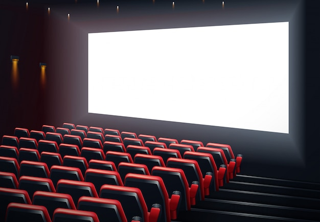 Progettazione del manifesto di film cinema prima con schermo bianco.