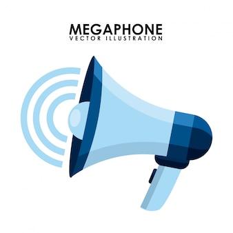 Progettazione del megafono sopra l'illustrazione bianca di vettore del fondo