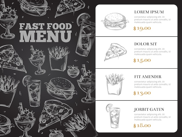 Progettazione del menu di vettore dell'opuscolo del ristorante con alimenti a rapida preparazione disegnati a mano. burger lunch e colazione, sandwi