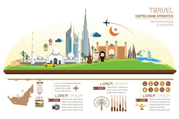 Progettazione del modello degli emirati arabi uniti del punto di riferimento di infographics.
