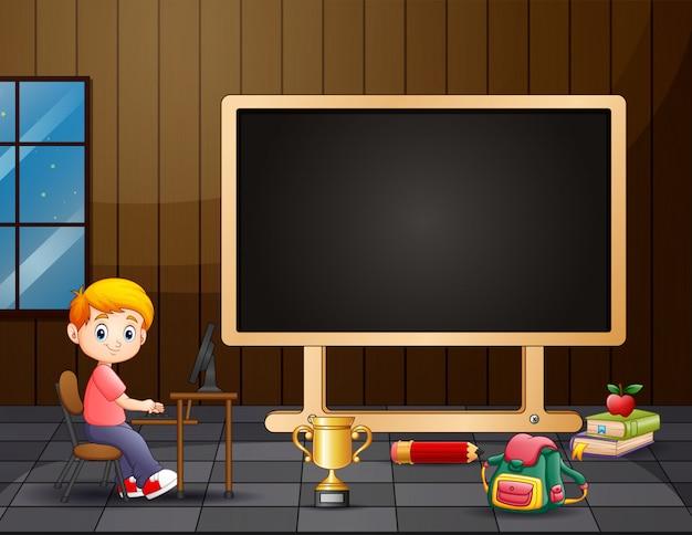 Progettazione del modello del confine con bambini felici in aula