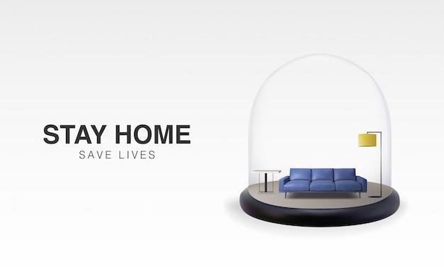 Progettazione del modello del fondo dell'illustrazione 3d di soggiorno a casa nell'auto quarantena, protezione dal virus.