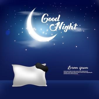 Progettazione del modello del fondo dell'illustrazione di vettore della buona notte