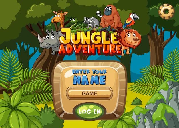 Progettazione del modello del gioco con gli alberi e gli animali nel fondo della foresta