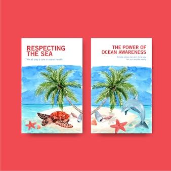 Progettazione del modello del libro elettronico per il concetto di giornata mondiale degli oceani con gli animali marini, le stelle marine, il delfino e la tartaruga sul vettore dell'acquerello dell'isola